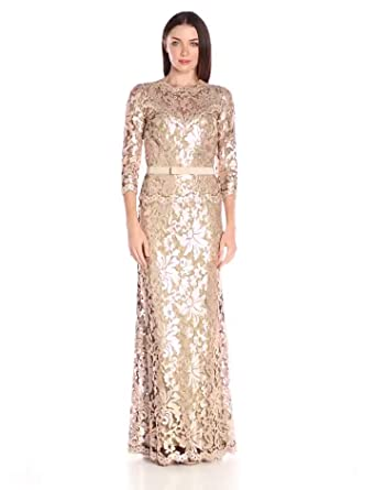 29a16362 Tadashi Shoji Women's Sequin Embroidered Gown with 3/4 Sleeve and Belt,  Ginseng,