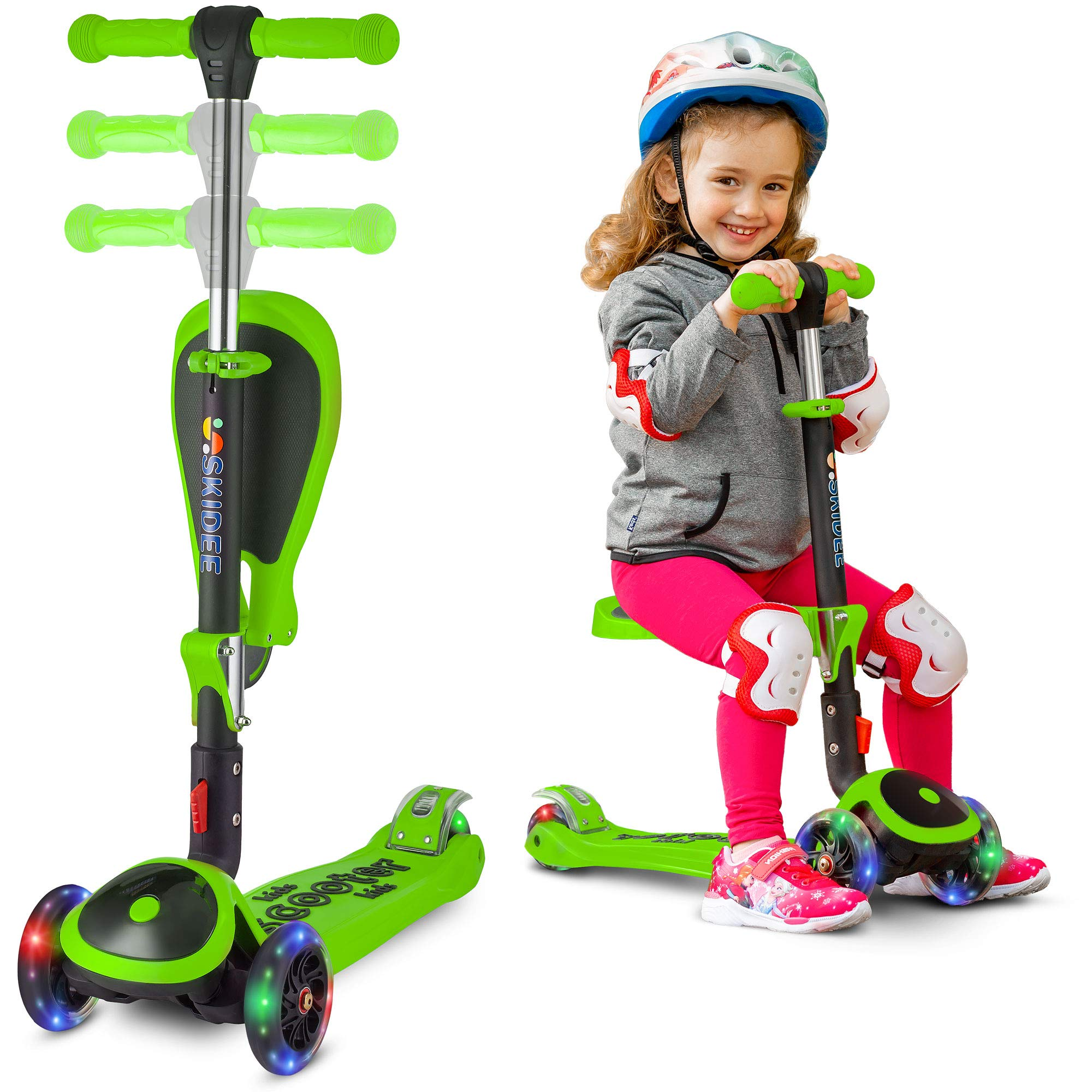 S SKIDEE Scooter for Kids with Folding Seat - 2-in-1Scooter for Kids with Folding/Removable Seat - 2 in 1 Adjustable Height, 3 LED Light Wheels, Kick Scooter for Girls & Boys (Green, Scooter)