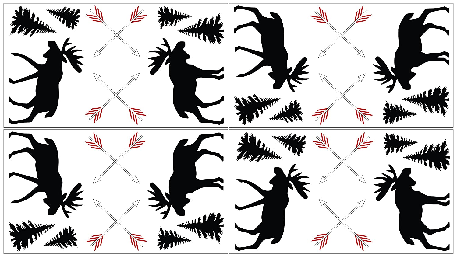 Grey, Black and Red Woodland Moose and Arrow Wall Decal Stickers for Rustic Patch Collection by Sweet Jojo Designs - Set of 4 Sheets