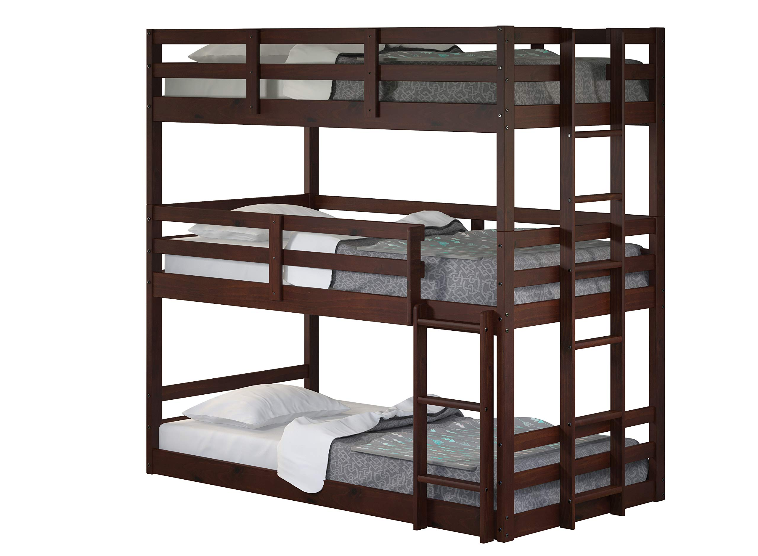 DONCO Kids Triple Bunk Bed, Twin/Twin/Twin, Dark Cappuccino