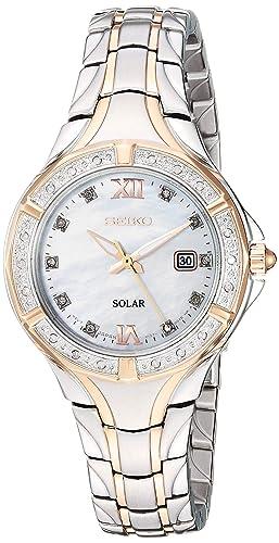 Amazon.com: Seiko Reloj de cuarzo de acero inoxidable para ...