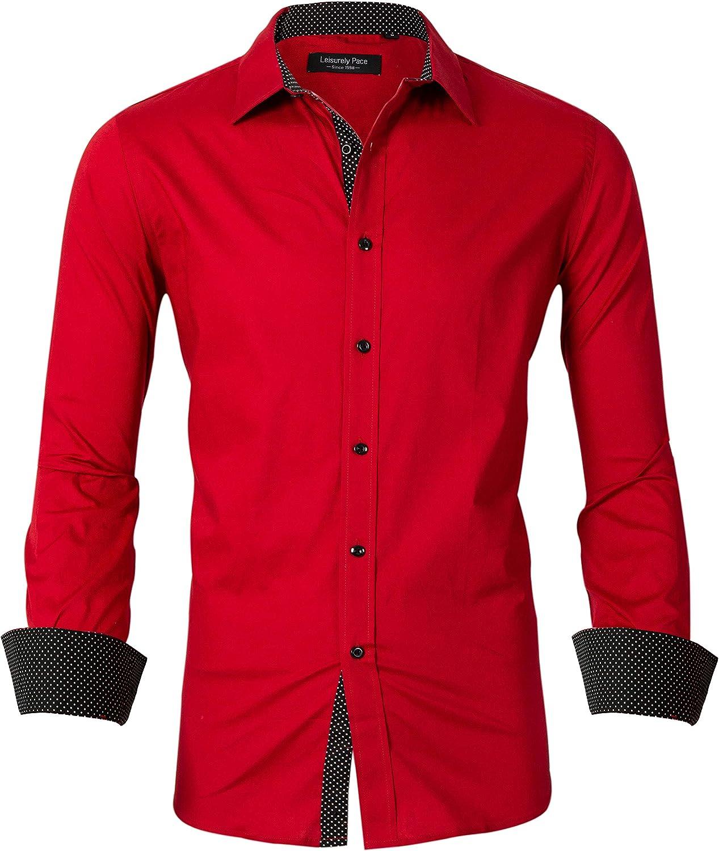 Leisurely Pace Mens Dress Shirts Regular Fit Long Sleeve Men Shirt