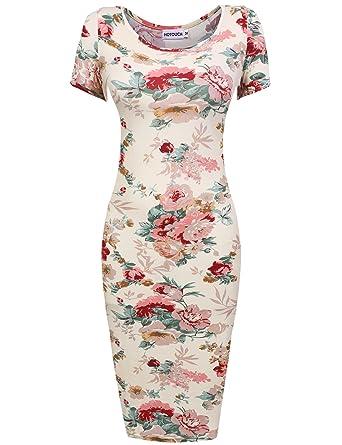 HOTOUCH Damen Etuikleid Vintage Kleid Cocktailkleid Midikleid ...