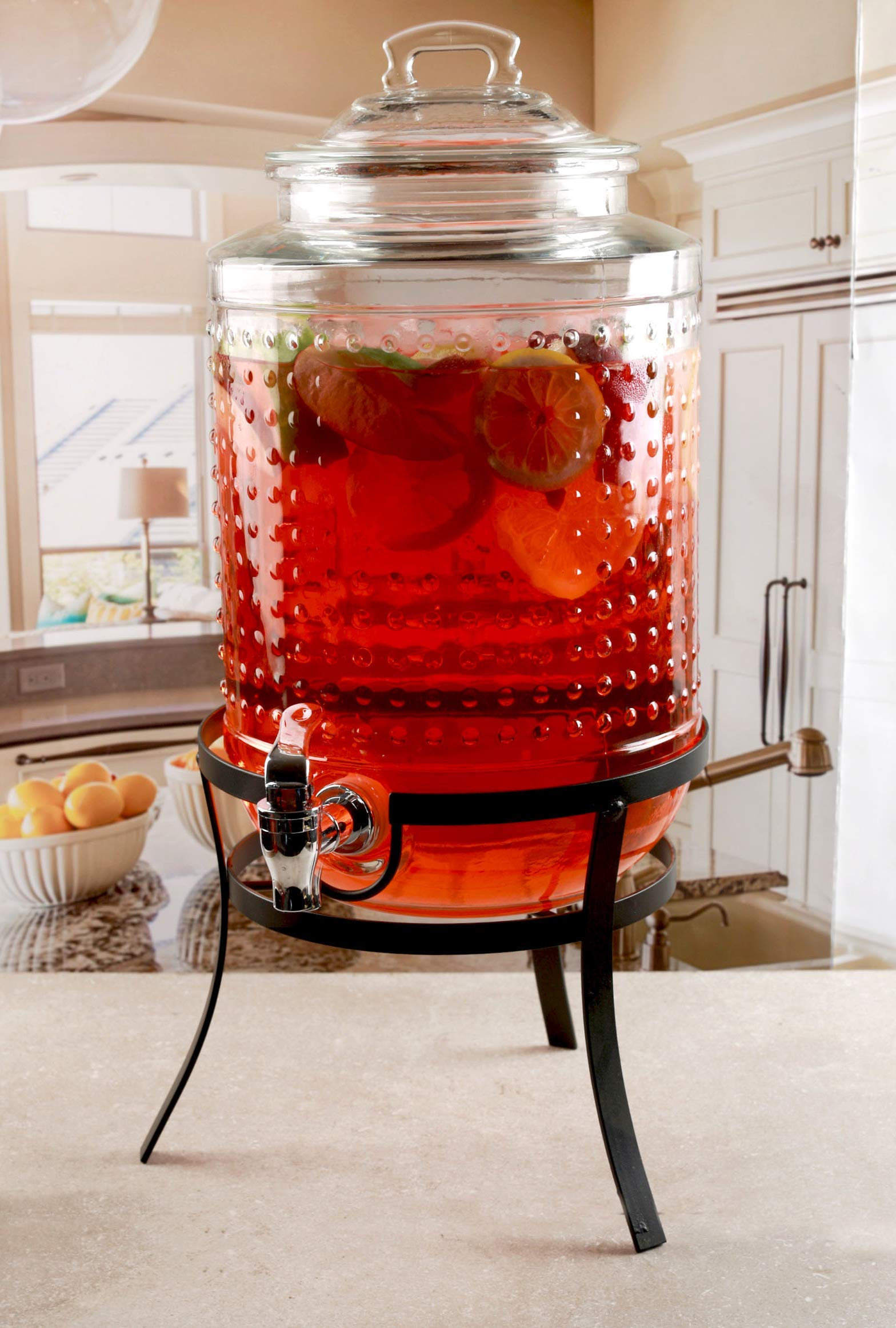 Circleware 69184 Vintage Dots Beverage Dispenser with Metal Stand, Glass Lid & Handle, Fun Party Home Entertainment Glassware Water Pitcher for Juice Drinks, Cold Beer, 1.9 Gallon Hobnail by Circleware (Image #2)