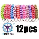 QY 12PCS New Version Bright Colorful Wave Pattern Cloth Plastic Spiral Coil Wrist Band Key Ring Chain