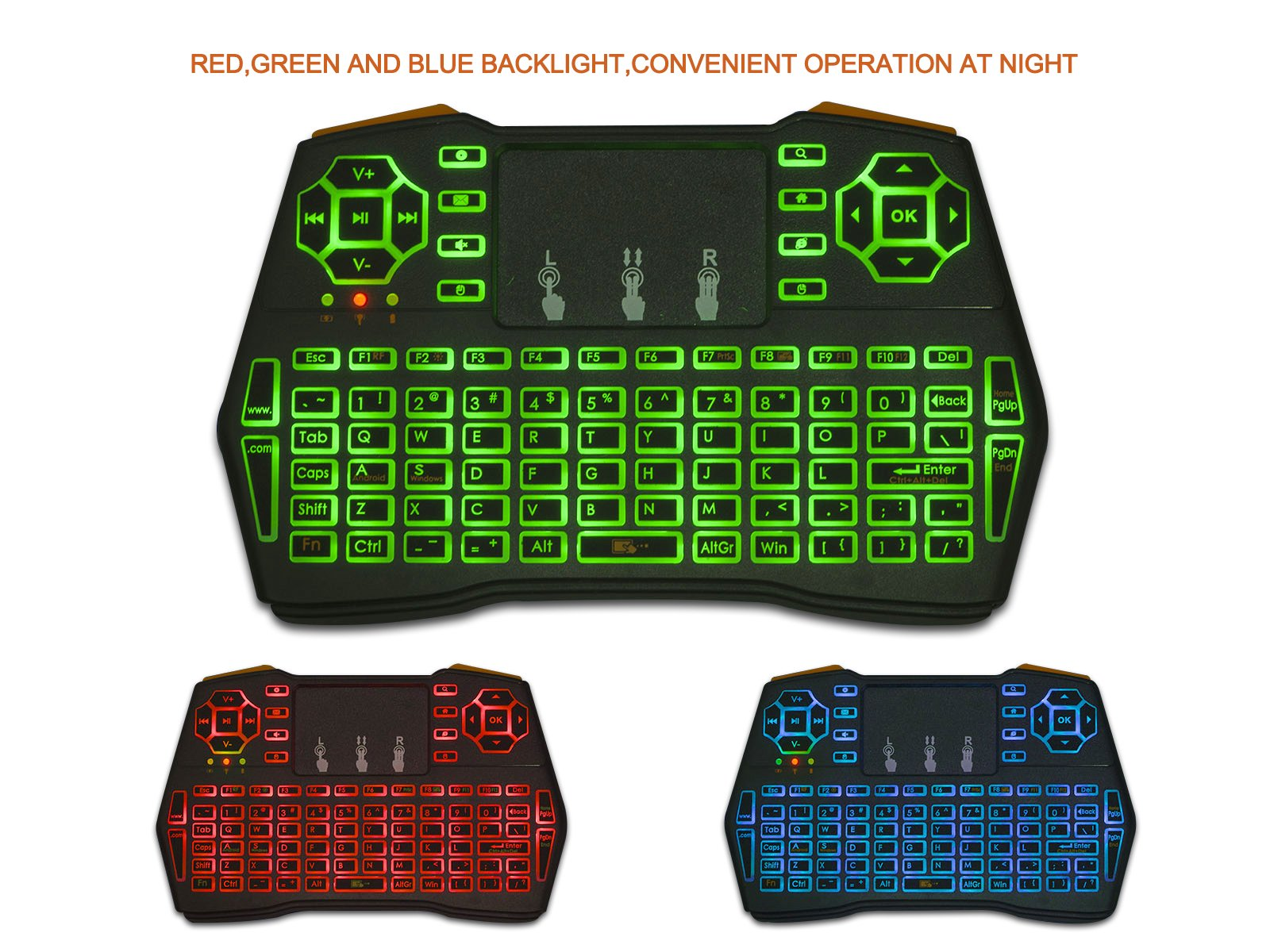 LinDon-Tech 2.4GHz Mini Wireless Keyboard with Touchpad Mouse Rechargable Air Mouse LED Backlit Handheld Remote Control Combos for PC, Google Android TV Box, Raspberry PI