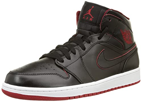 Jordan Nike Men's Air 1 Mid Black/Black/White/Gym Red Basketball Shoe