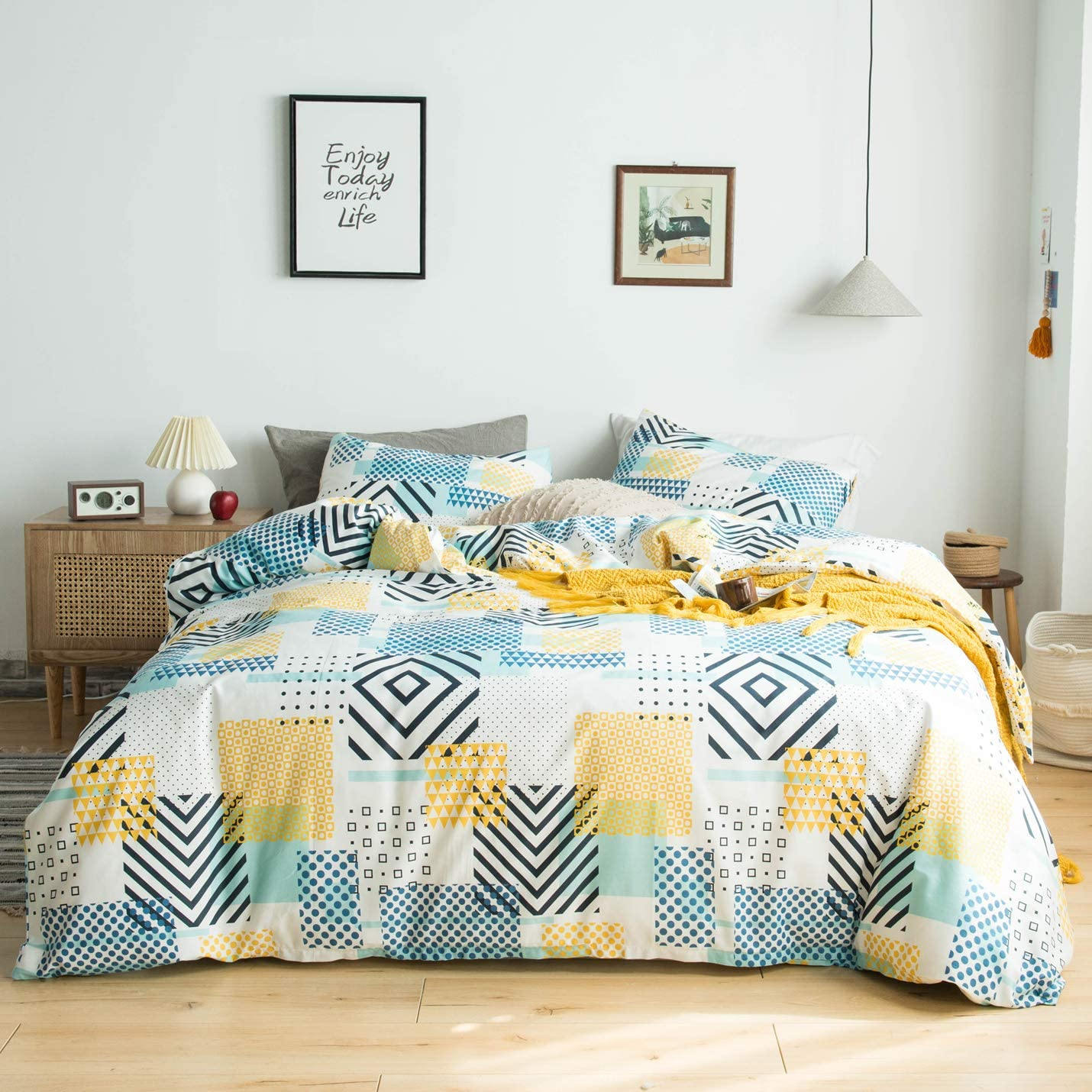 YuHeGuoJi 3 Pieces Duvet Cover Set 100% Cotton King Size Yellow Blue Geometric Bedding Set 1 Polka Dot Print Duvet Cover with Zipper Ties 2 Pillowcases Luxurious Quality Soft Lightweight Breathable