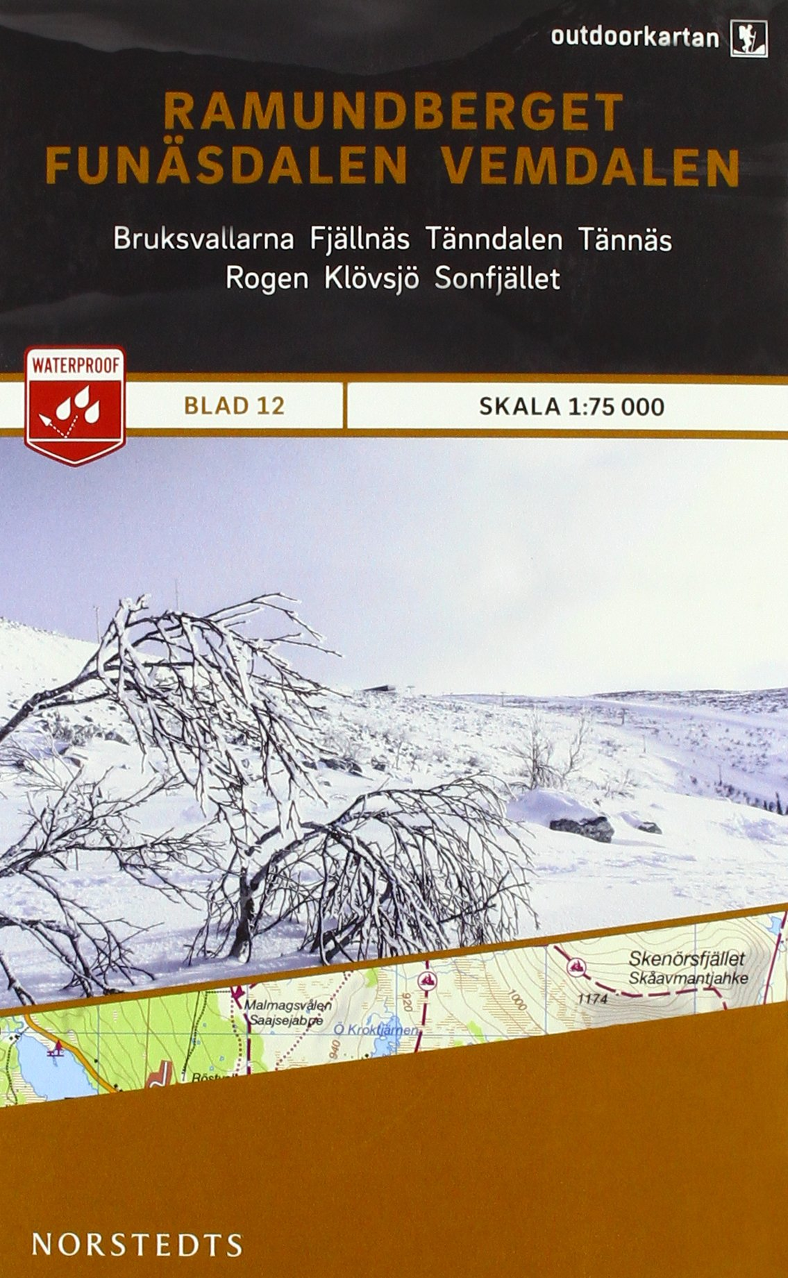 Outdoorkartan Schweden 12 Ramundberget - Funasdalen 1 : 75 000: amtliche Karte