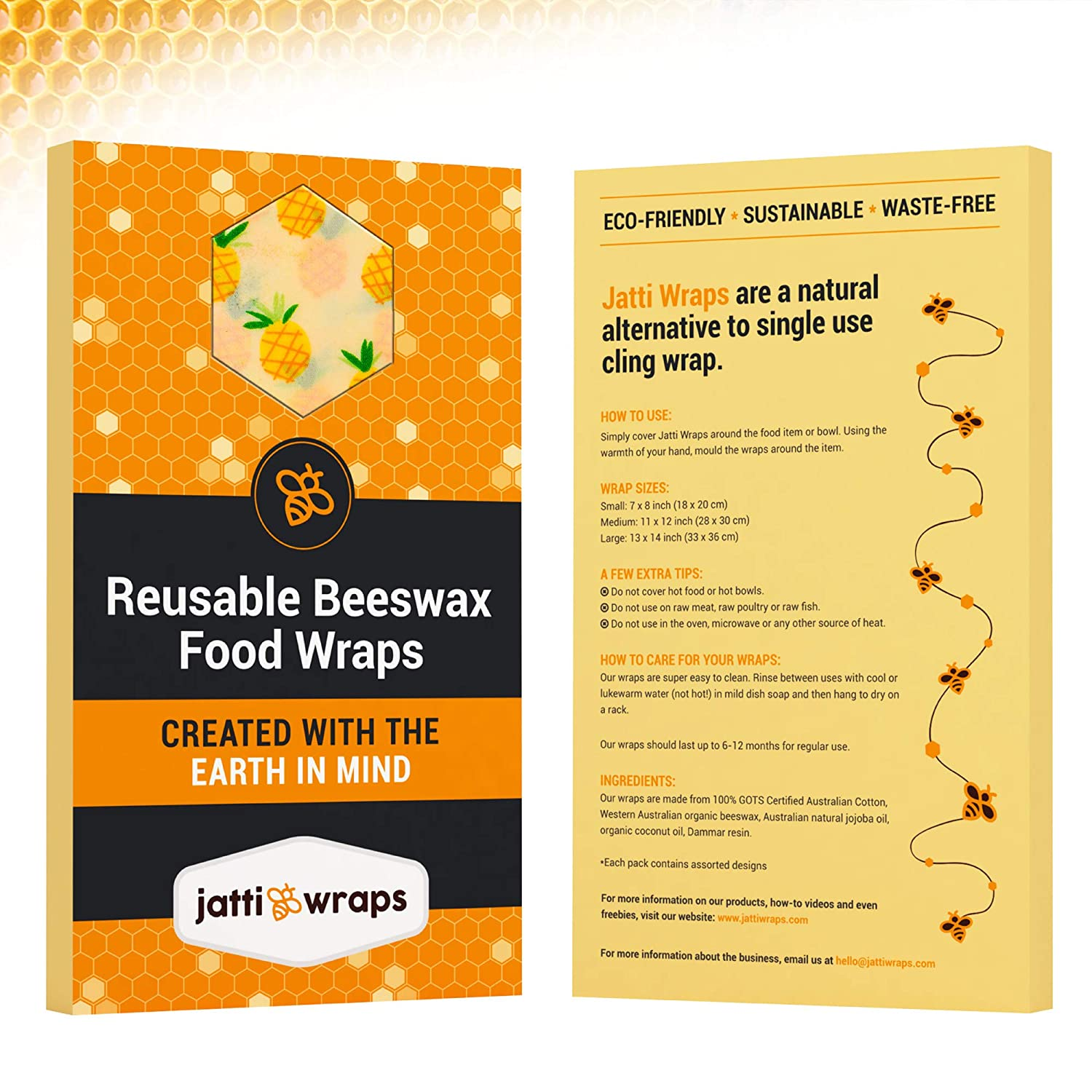 Reusable Beeswax Wraps Set - Plastic Free, Sustainable and Reusable Food  Wrap - Bees Wax Wraps are A Natural Alternative to Cling Wrap - 3 Pack of