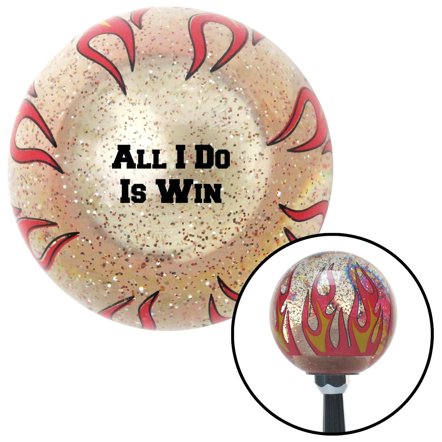 Black All I Do is Win Clear Flame Metal Flake with M16 x 1.5 Insert American Shifter 295469 Shift Knob