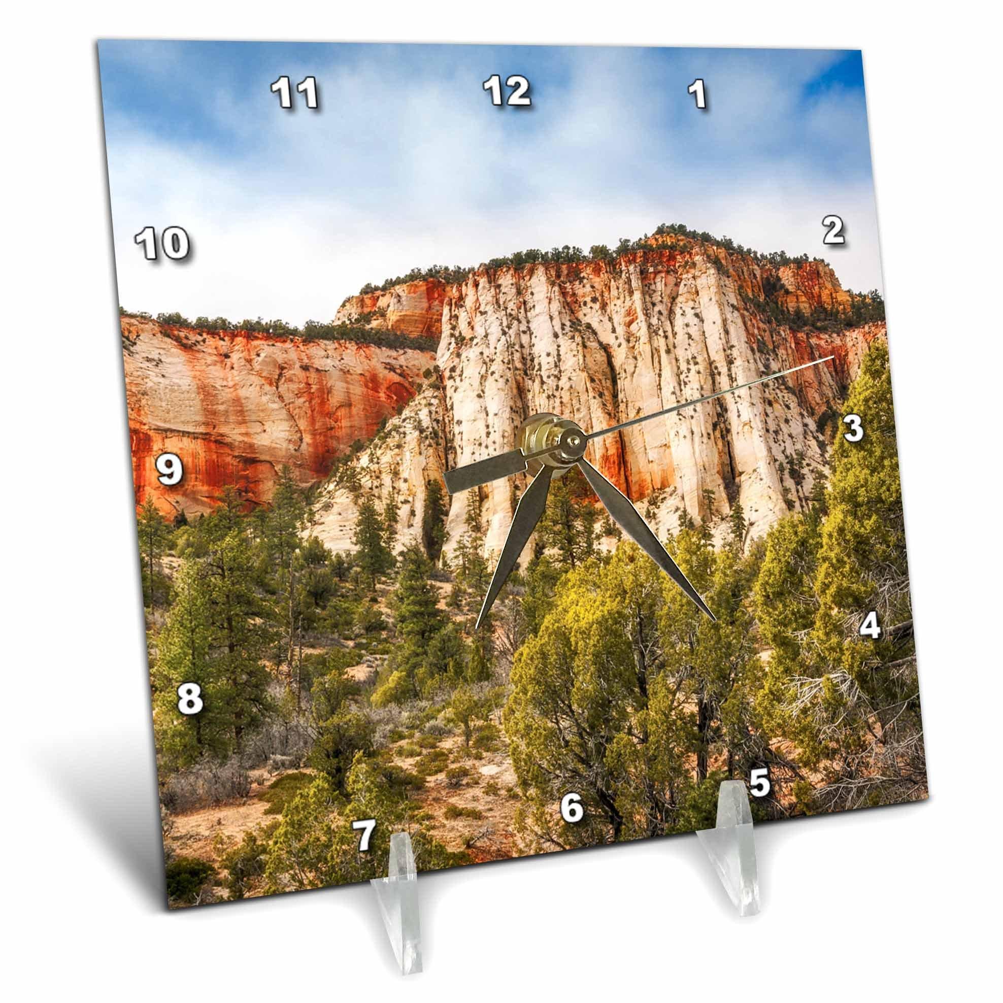3dRose DanielaPhotography - Nature, Landscape - Mountain Range in Zion National Park, Utah, United States America - 6x6 Desk Clock (dc_282002_1)