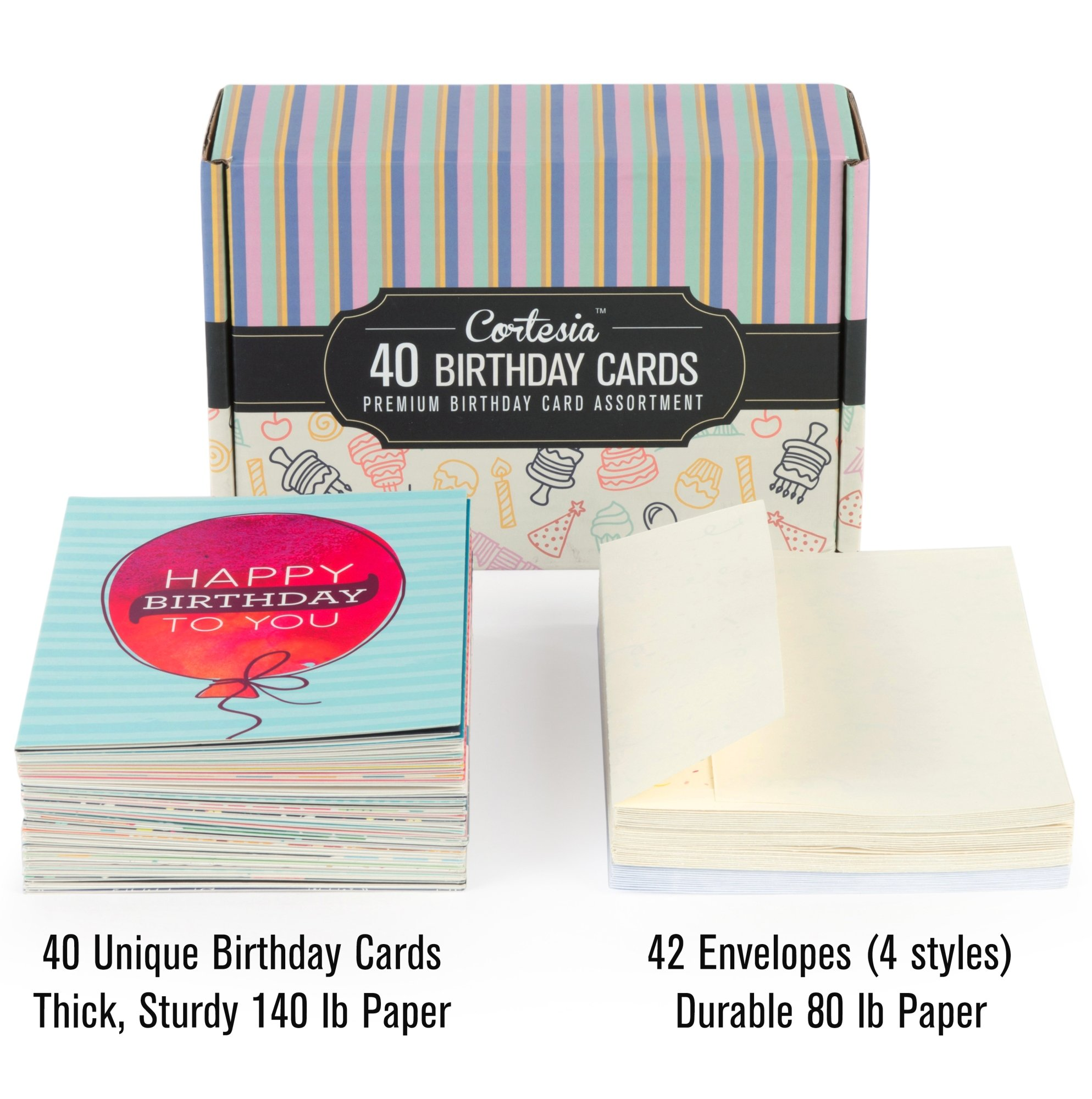 Happy Birthday Cards Bulk Premium Assortment - 40 UNIQUE DESIGNS, GOLD EMBELLISHMENTS, ENVELOPES WITH PATTERNS. The Ultimate Boxed Set of Bday Cards. by Cortesia (Image #6)