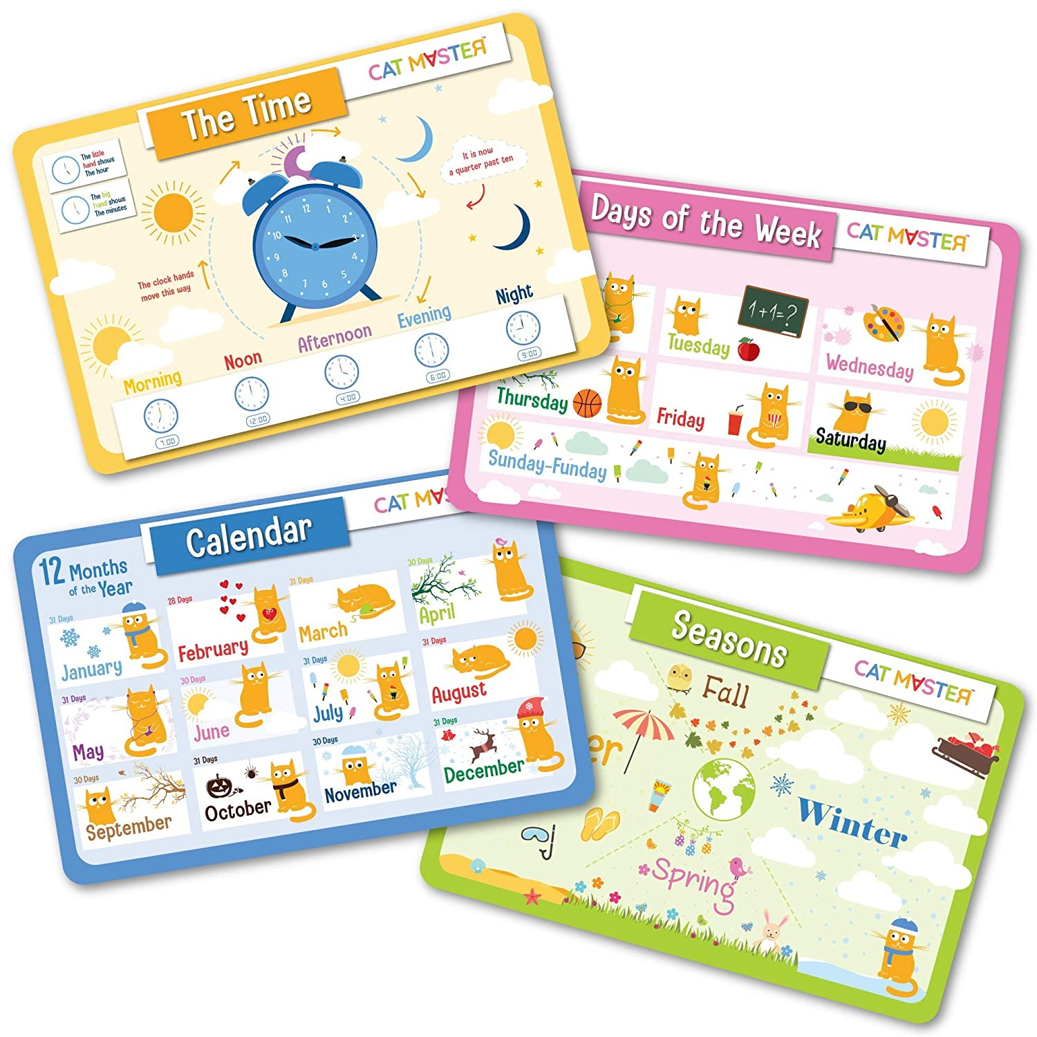 Cat Master – Educational Kids Placemats - Set of 4, Learn Months, Days, Seasons and How to Read the Clock - Fun Learning Time