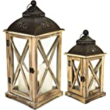 east2eden Set of 2 Wooden Wood Rustic Vintage Retro Candle Tealight Holder Lantern (Brown Square Stars)