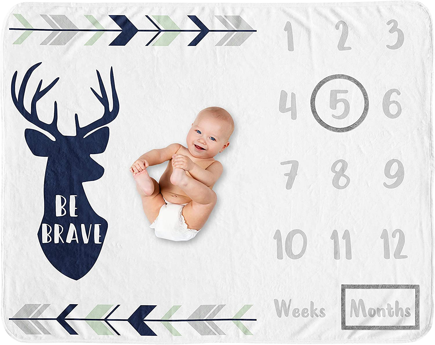Sweet Jojo Designs Woodland Deer Boy Milestone Blanket Monthly Newborn First Year Growth Mat Baby Shower Memory Keepsake Gift Picture - Navy Blue, Mint and Grey Woodsy Forest Arrow Be Brave