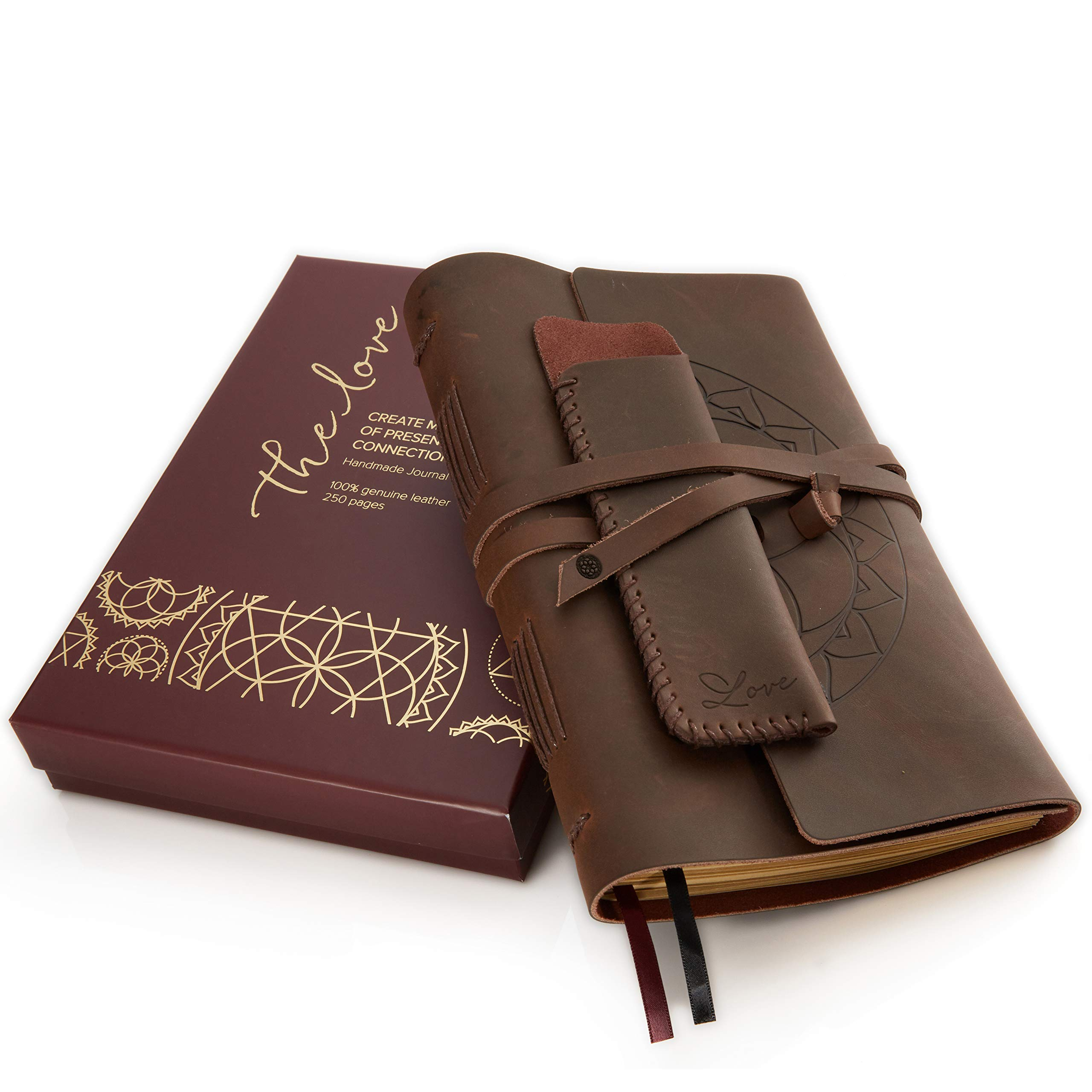 Leather Journal Writing Notebook - Lined Pages + Pen Holder. Handmade Genuine Leather Notepad For Men & Women. Paper 8 x 6 Inches. Great Travel Diary. Perfect Gift For Men & Women.