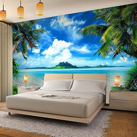 Papel Pintado Fotográfico Playa de palmeras de mar 396 x 280 cm Tipo Fleece no-trenzado Salón Dormitorio Despacho Pasillo Decoración murales decoración de ...