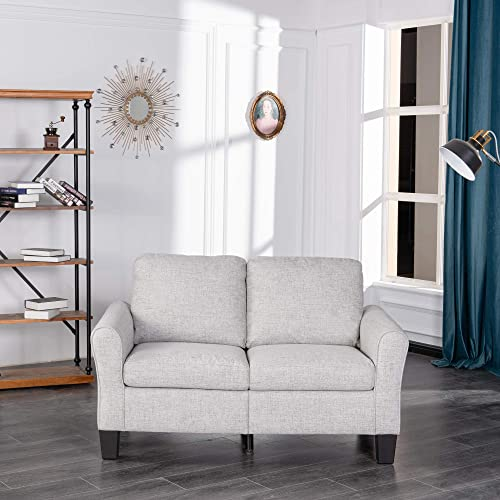 GOOD GRACIOUS Loveseat Single Accent Chair with Arms Decorative Soft Sofa Couch for Small Space Bedroom and Living Room, Modern Upholstered Small Love Seat Armchair, 57 x32 x36 , Grey