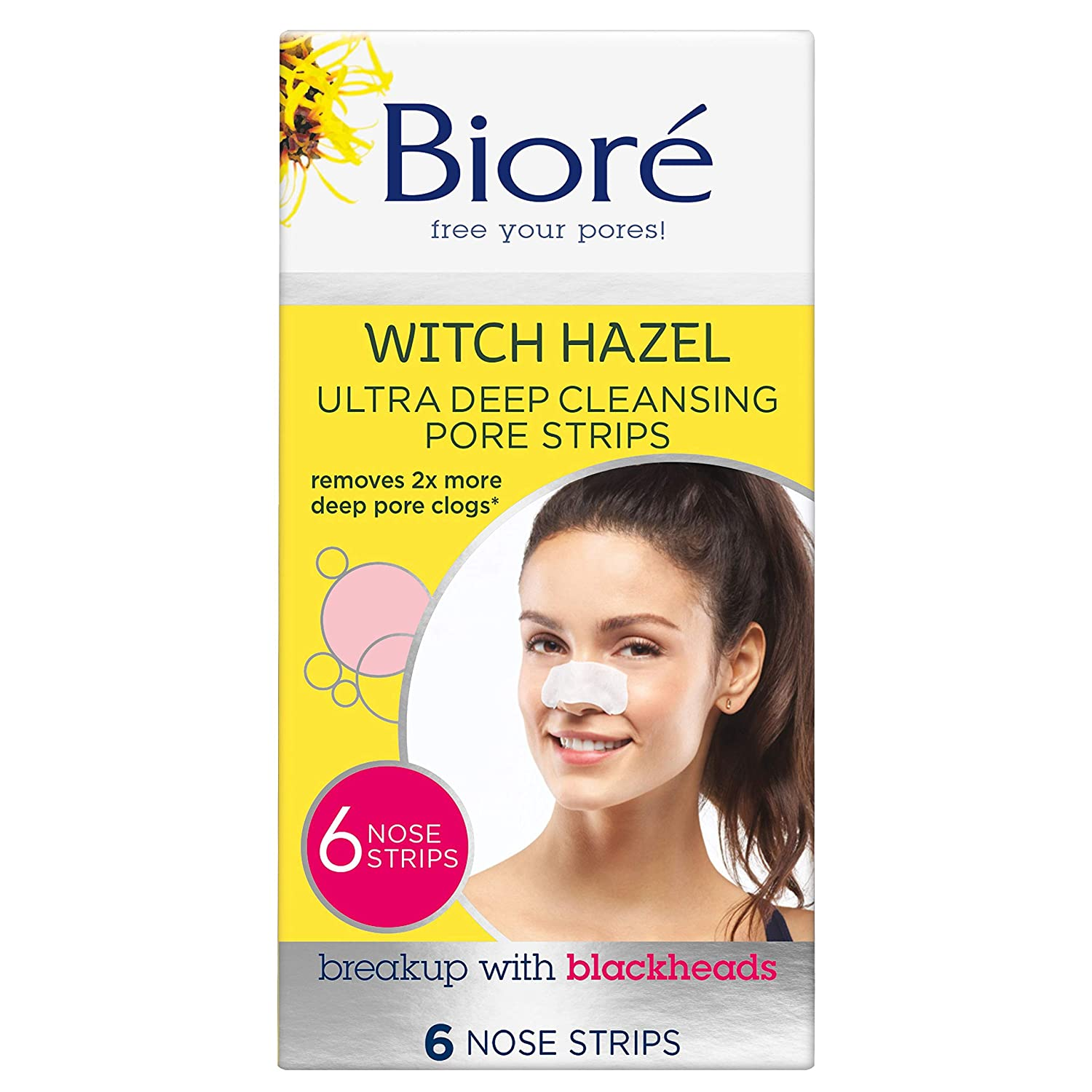 Bioré Witch Hazel Ultra Cleansing Pore Strips, 6 Nose Strips, Clears Pores up to 2x More than Original Pore Strips, features C-Bond Technology, Oil-Free, Non-Comedogenic Use (Packaging May Vary): Beauty