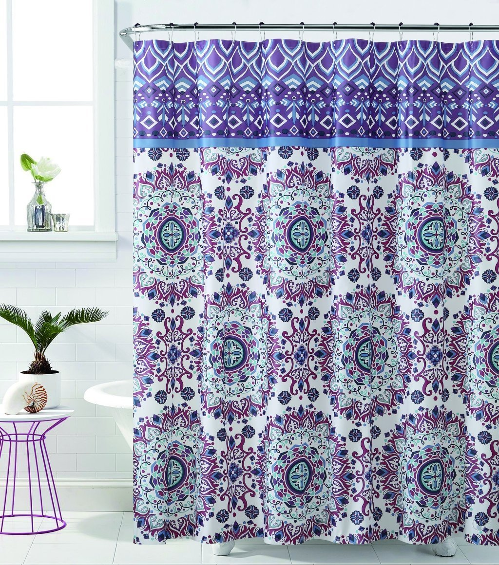 "Royal Bath Plum Mandala Burst PEVA Non-Toxic Fabric Shower Curtain - 72"" x 72"""
