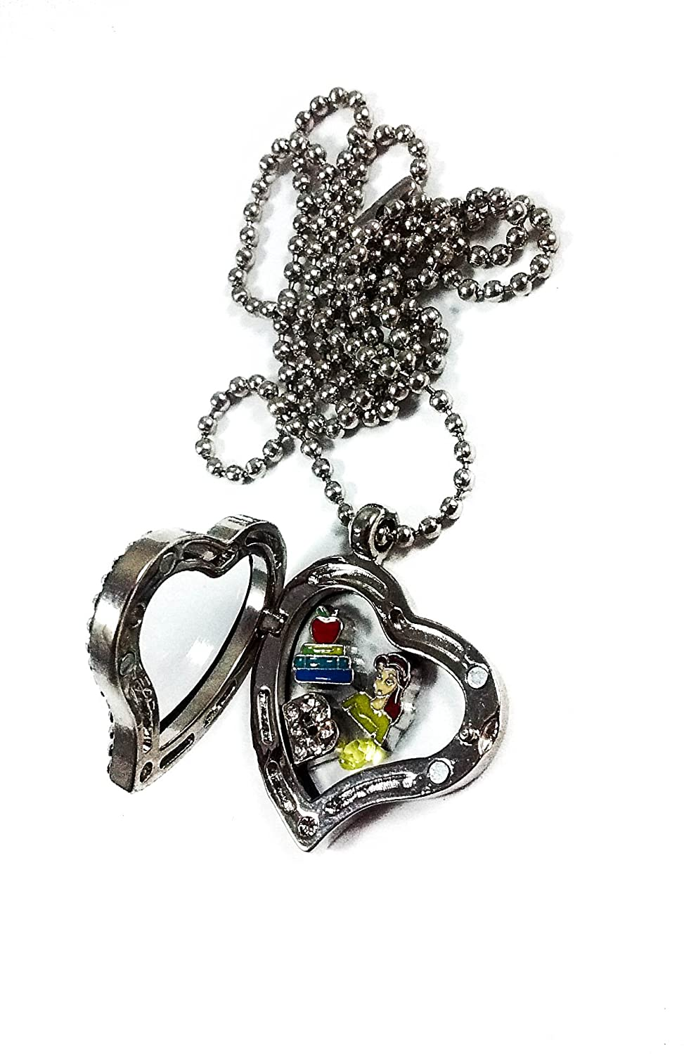 Disney Princess Belle By Living Memory Lockets for Less Charm Necklace Beauty and the Beast