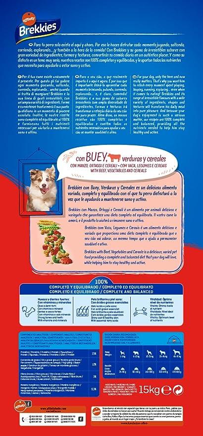 Brekkies Pienso para Perros con Buey y Verduras - 15000 gr: Amazon ...