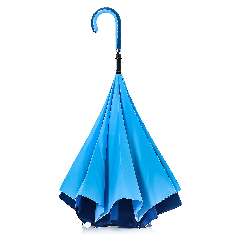【 (キャリーサカサ) CityModel】逆折り式傘 逆さ傘 テフロン加工 (ブルー/ブルー) B01GR8Y1AI ブルー/ブルー ブルー/ブルー