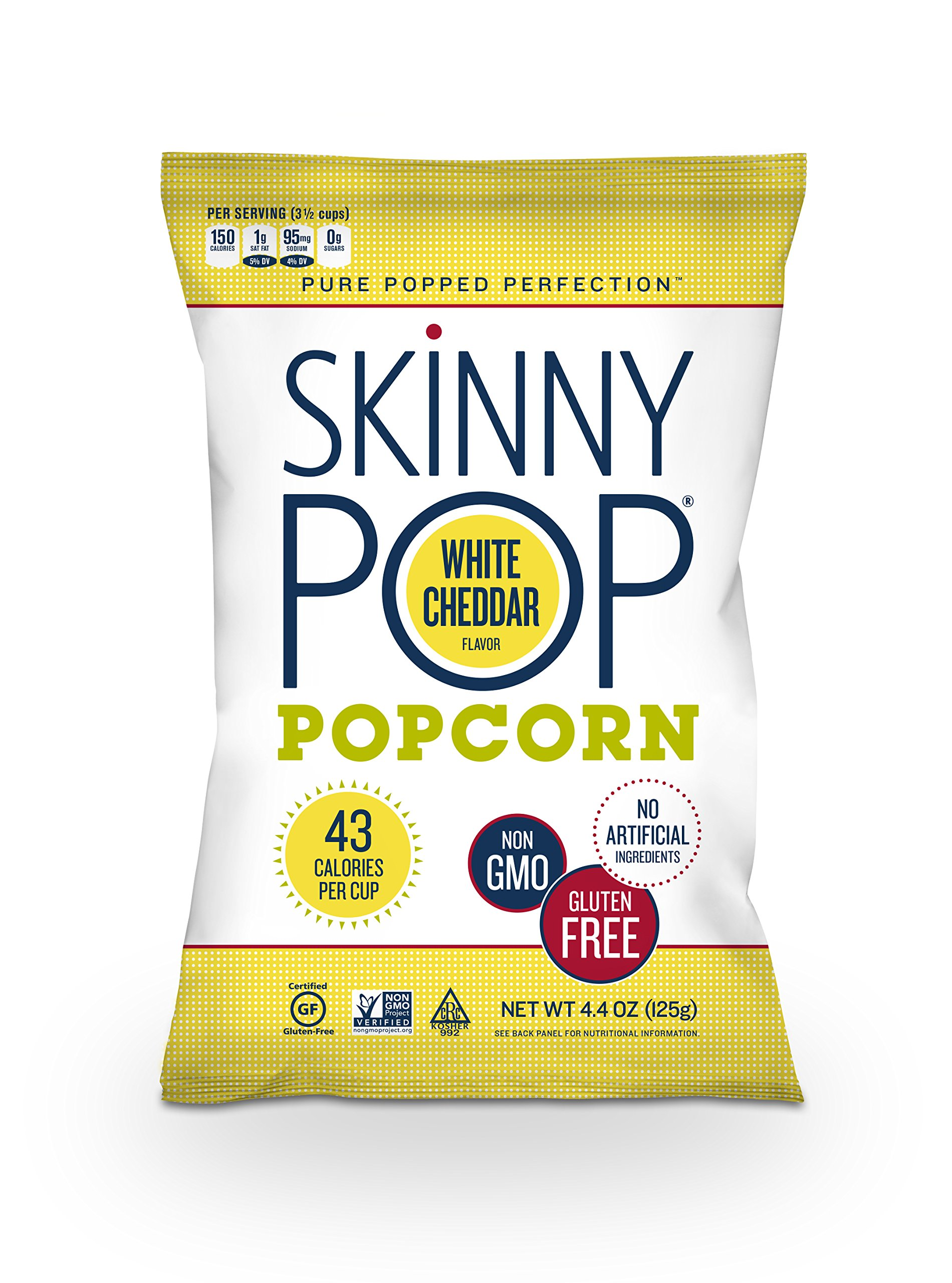 SkinnyPop Popcorn, White Cheddar, 4.4 Ounce (Pack of 6)