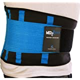 "MEDiBrace Lower Back Support Brace Medical Grade for Injury Prevention during Sports Exercise or Pain & Discomfort Relief from Sciatica, Slipped Disc, Hernia, Spinal Stenosis | Waist Belt with Adjustable Double Strap | Improve Lumbar Support Posture for Men & Women (32"" to 38"" (81-96cm) LARGE, Persian BLUE)"