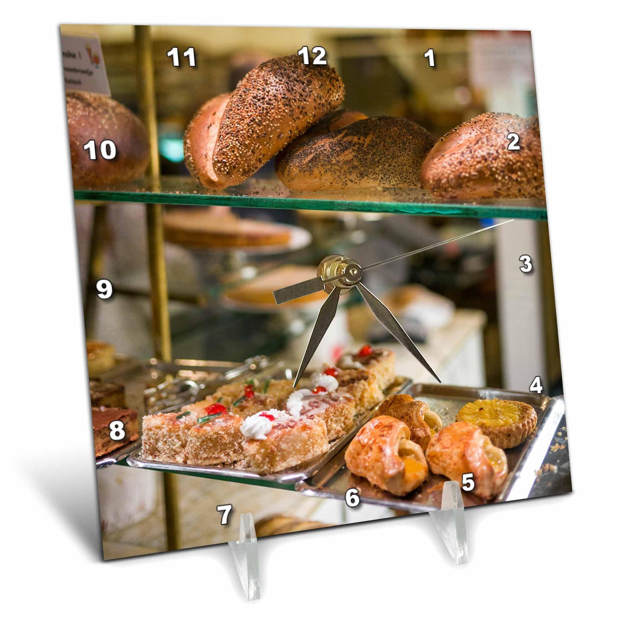 3dRose Danita Delimont - Food - Belgium, Antwerp. Shopping district, bakery window - 6x6 Desk Clock (dc_277300_1)