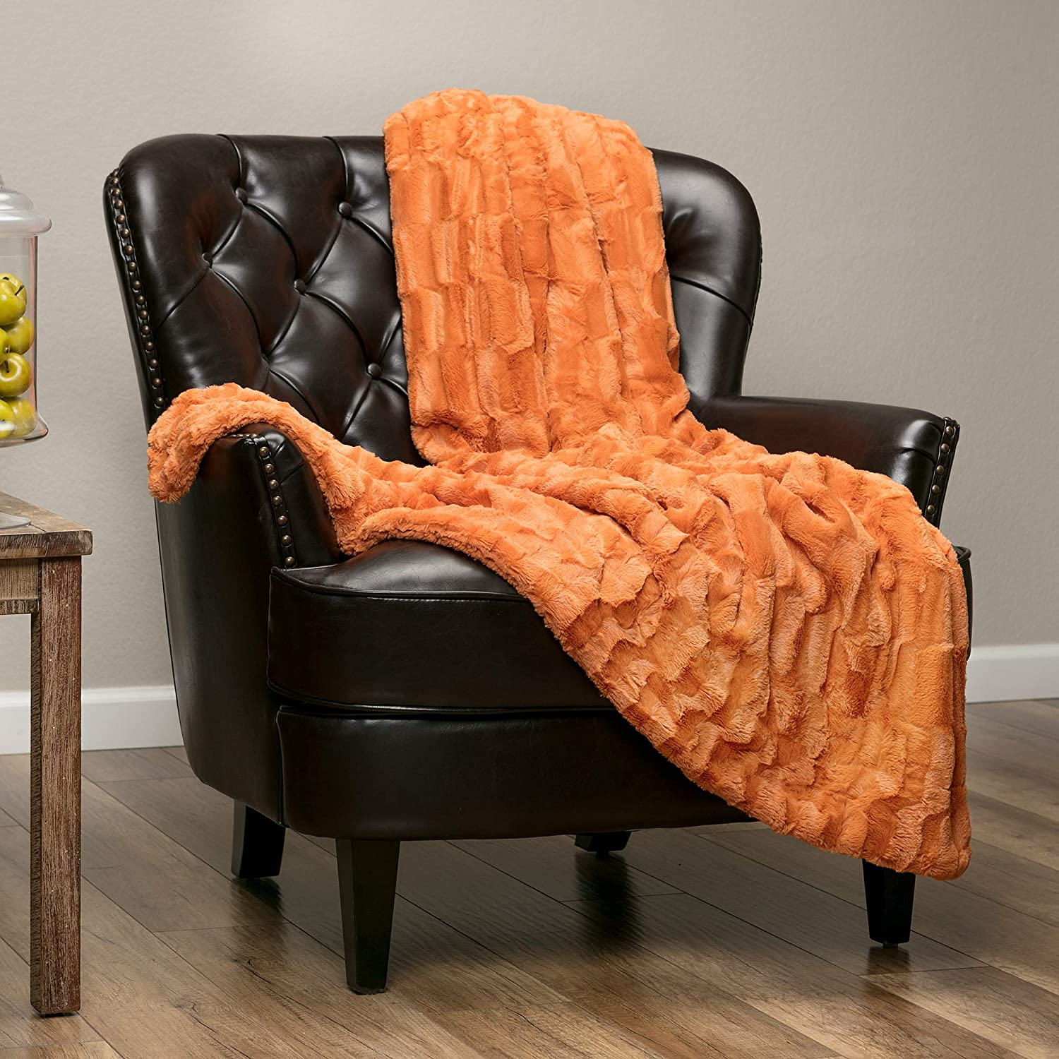 "Chanasya Super Soft Fuzzy Faux Fur Elegant Rectangular Embossed Throw Blanket | Fluffy Plush Sherpa Cozy Pumpkin Microfiber Blanket for Bed Couch Living Room Fall Winter Spring (50"" x 65"") - Orange"
