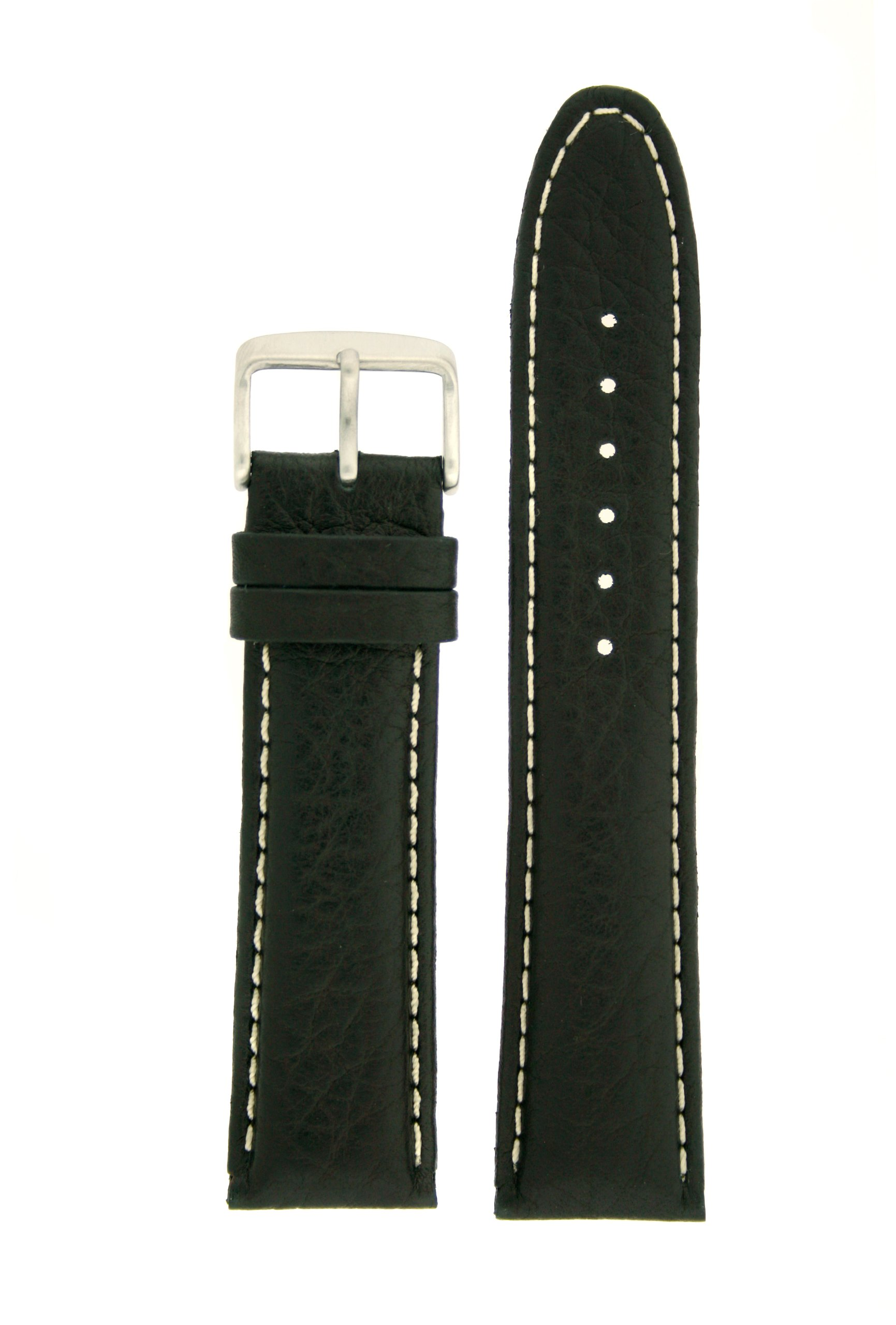 Extra Thick Padded Watch Band Genuine Leather Black 20 millimeters White Stitching Tech Swiss