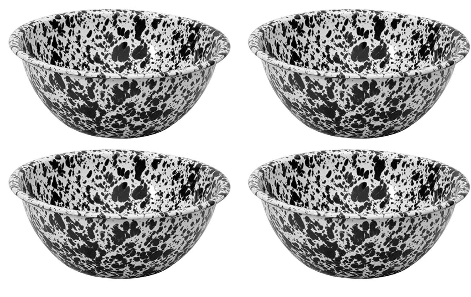 Crow Canyon Enamelware Round Salad//Serving Bowl Black Marble Pattern Set of 4 Classic Tableware 8.5 Inches