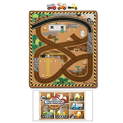 Melissa & Doug Round The Construction Site Rug & Bonus Work Vehicle Set: Toys & Games [5Bkhe1905903]