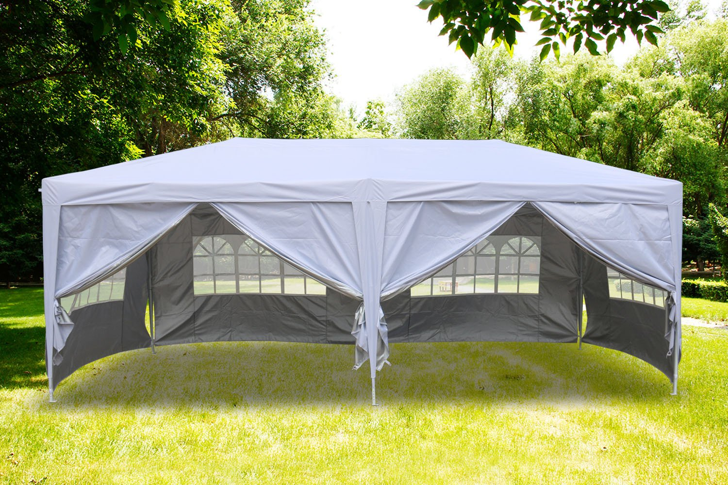 Greenbay Premium Beige Pop-up Gazebo with Silver Protective Layer + 3 free WindBars + 4 Leg Weight Bags + Carrying Bag 3x6M Manufactured for Greenbay
