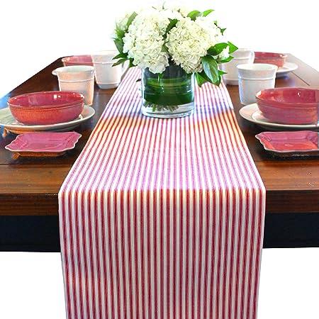 Camino de mesa de cocina rojo, rojo camino de mesa, algodón Camino ...