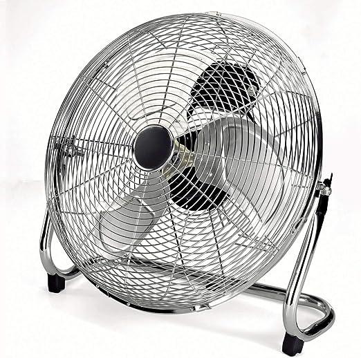 Ventilador de suelo silencioso, 100 W, oscilante, ventilador de mesa, 3 aspas de aluminio, 45 cm, ventilador, motor silencioso, color plateado: Amazon.es: Hogar