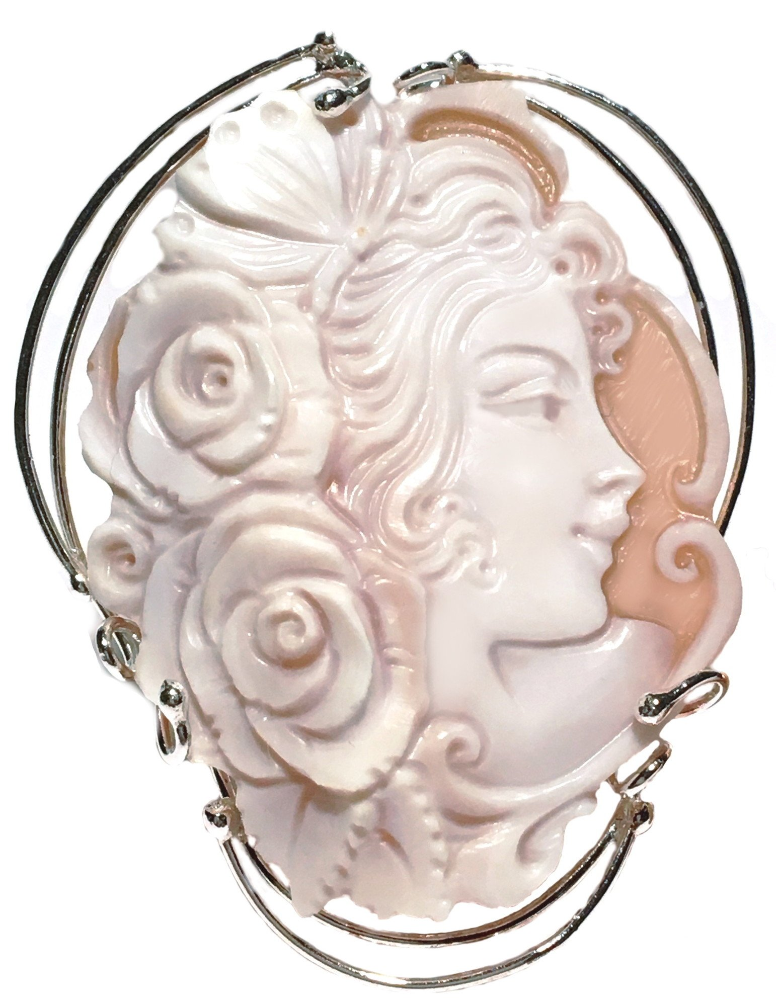 Brooch Pendant Summer Dream, Sterling Silver, Natural Sardonyx Shell, Original Cameo,Italian