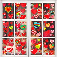 Konsait 196 pcs Valentine's Day Window Clings Decals, Heart Window Glass Decorations with Static Sticker Decor for…