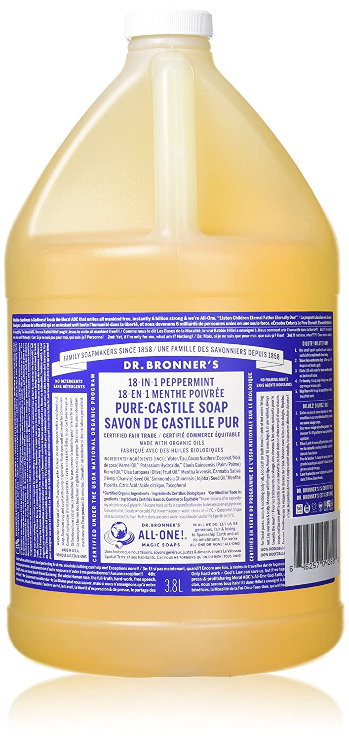 Dr. Bronner's Organic Oil Pure Castile Soap Liquid, Peppermint, 128 Oz