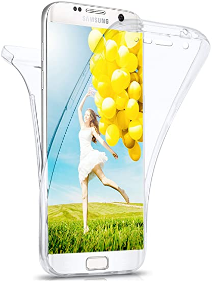 moex Samsung Galaxy S7 Edge | Hülle Silikon Transparent 360 Grad Double Side Cover Dünne Schutzhülle Slim Handyhülle für Sams