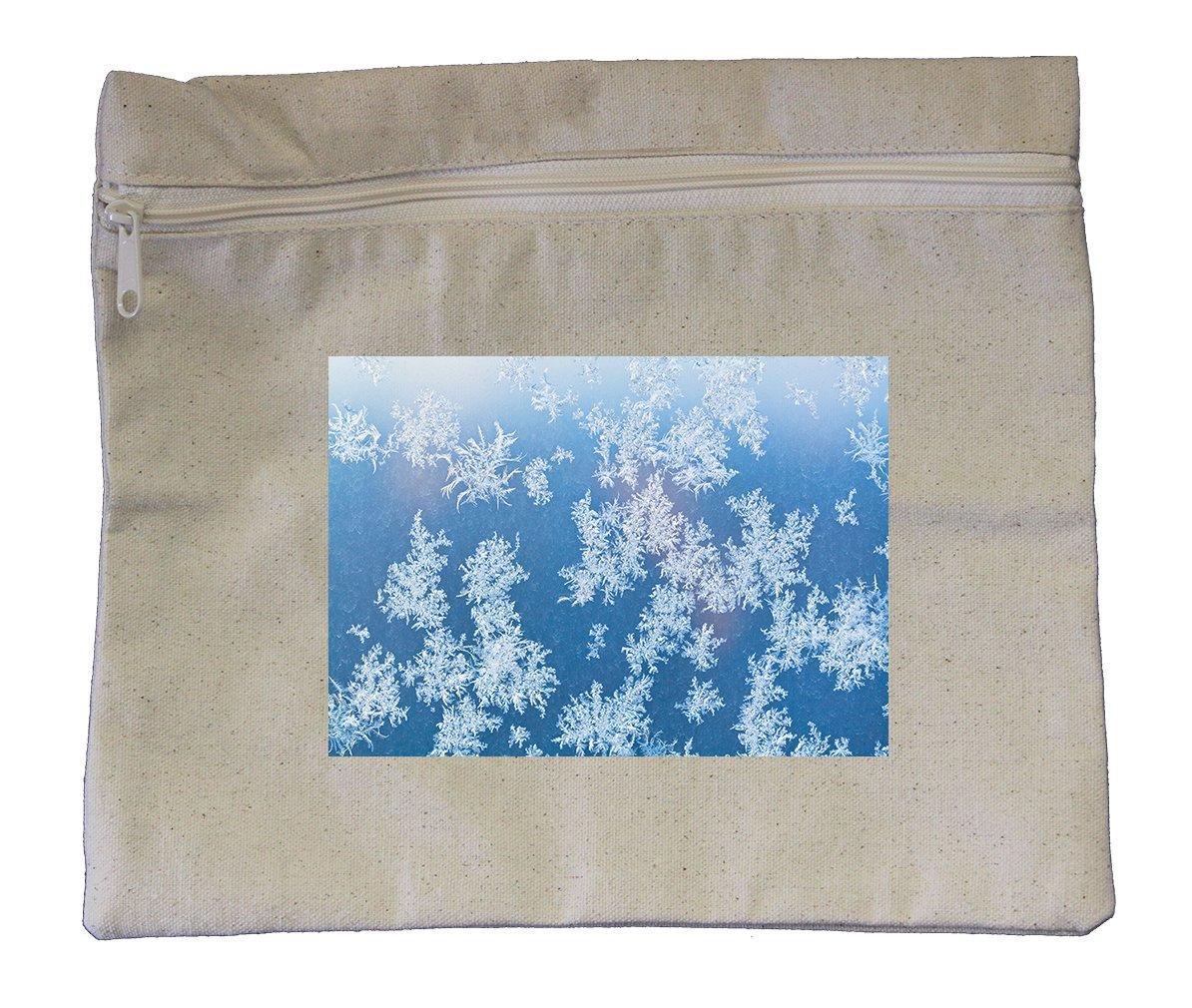 Canvas Zipper Pouch Tote Bag 10''X12'' Sunbeam Spots Frosty Pattern Window Pane
