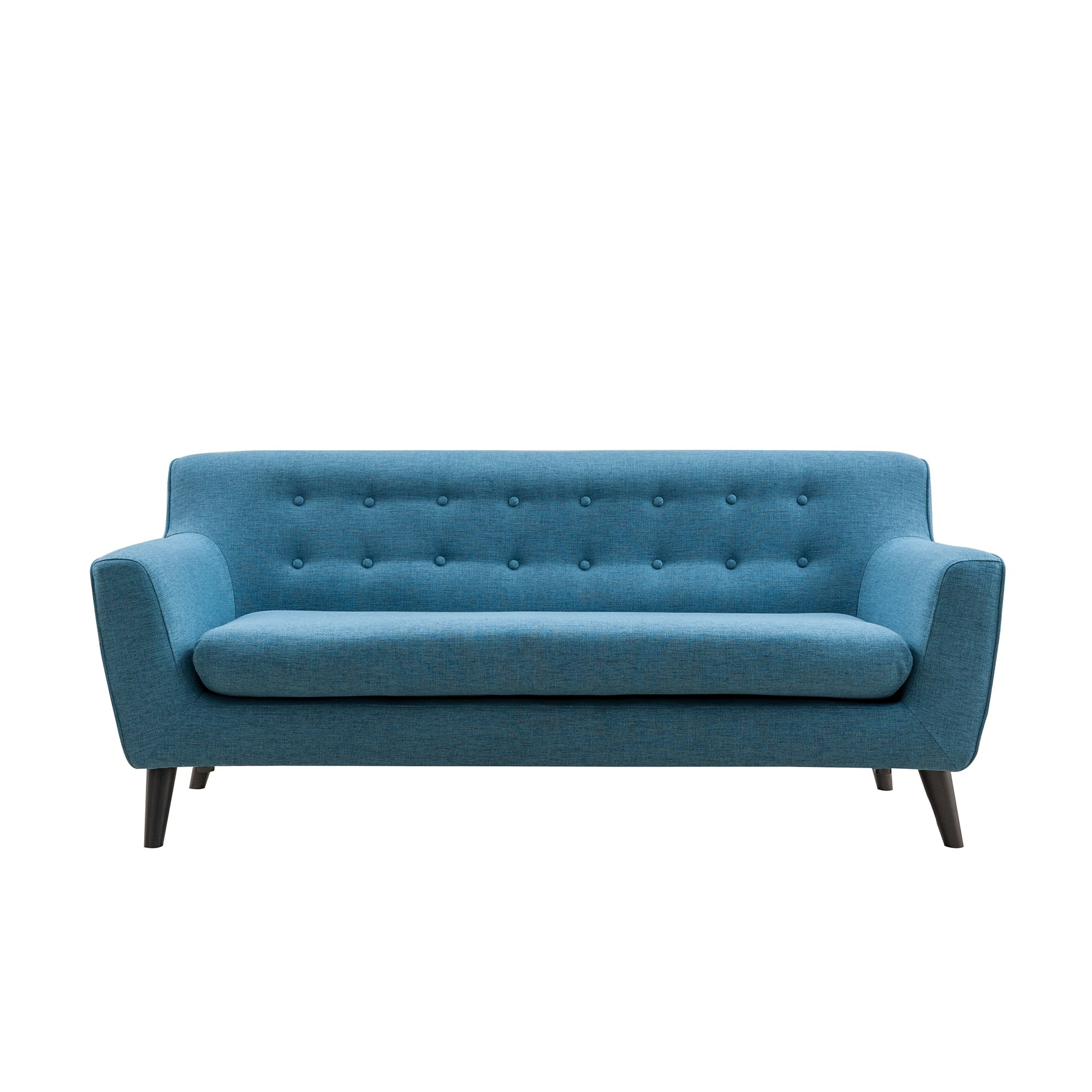 Magari Furniture Mid Century Modern Living RoomCouch Fabric Upholstered Classic Tufted Three Person Sofa, Indigo blue by Magari