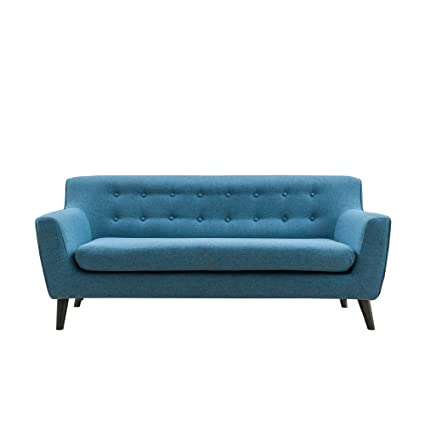 0dca06b1abbb Magari Furniture MF002BU Mid Century Modern Living RoomCouch Fabric  Upholstered Classic Tufted Three Person Sofa, Indigo Blue