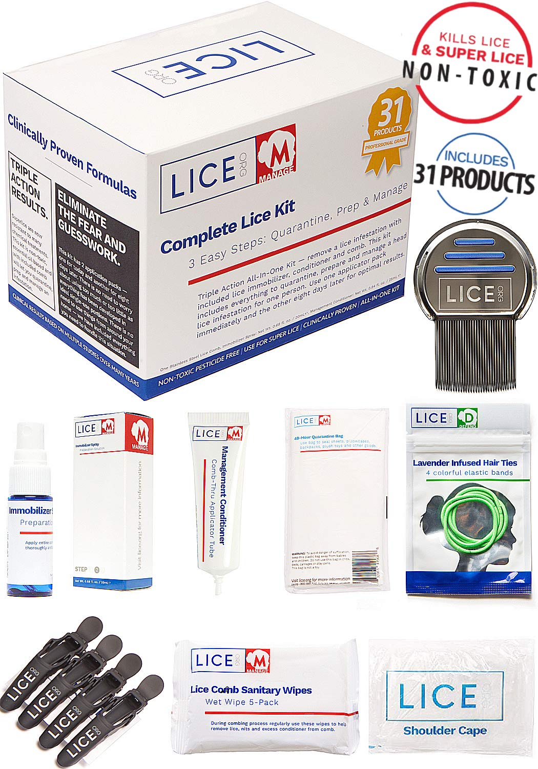 Official LICE.ORG Complete Lice Kit - Head Lice Treatment Kit with 31 Products to Quarantine, Prep and Manage A Lice Incident. Non-Toxic and Pesticide Free by LICE.ORG