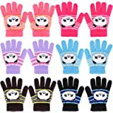 QKURT 6 Pairs Kids Gloves, Full Finger Winter Knitted Magic Stretch Gloves Warm Gloves for 2~5 Year Old Child Girls Boys…