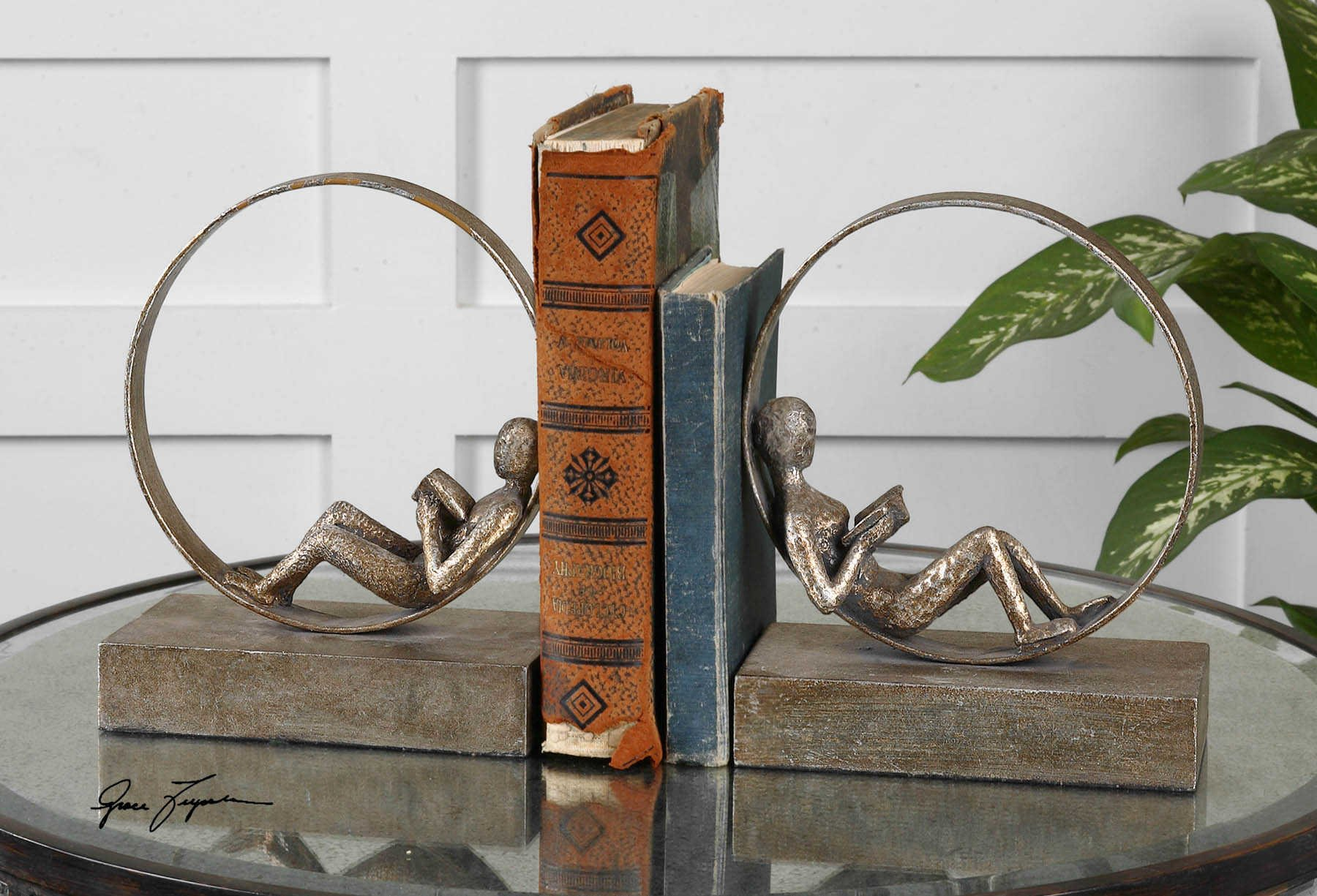 Vhomes Lights Reader Antique Bookends Set/2 The Lounging Collection Bookends