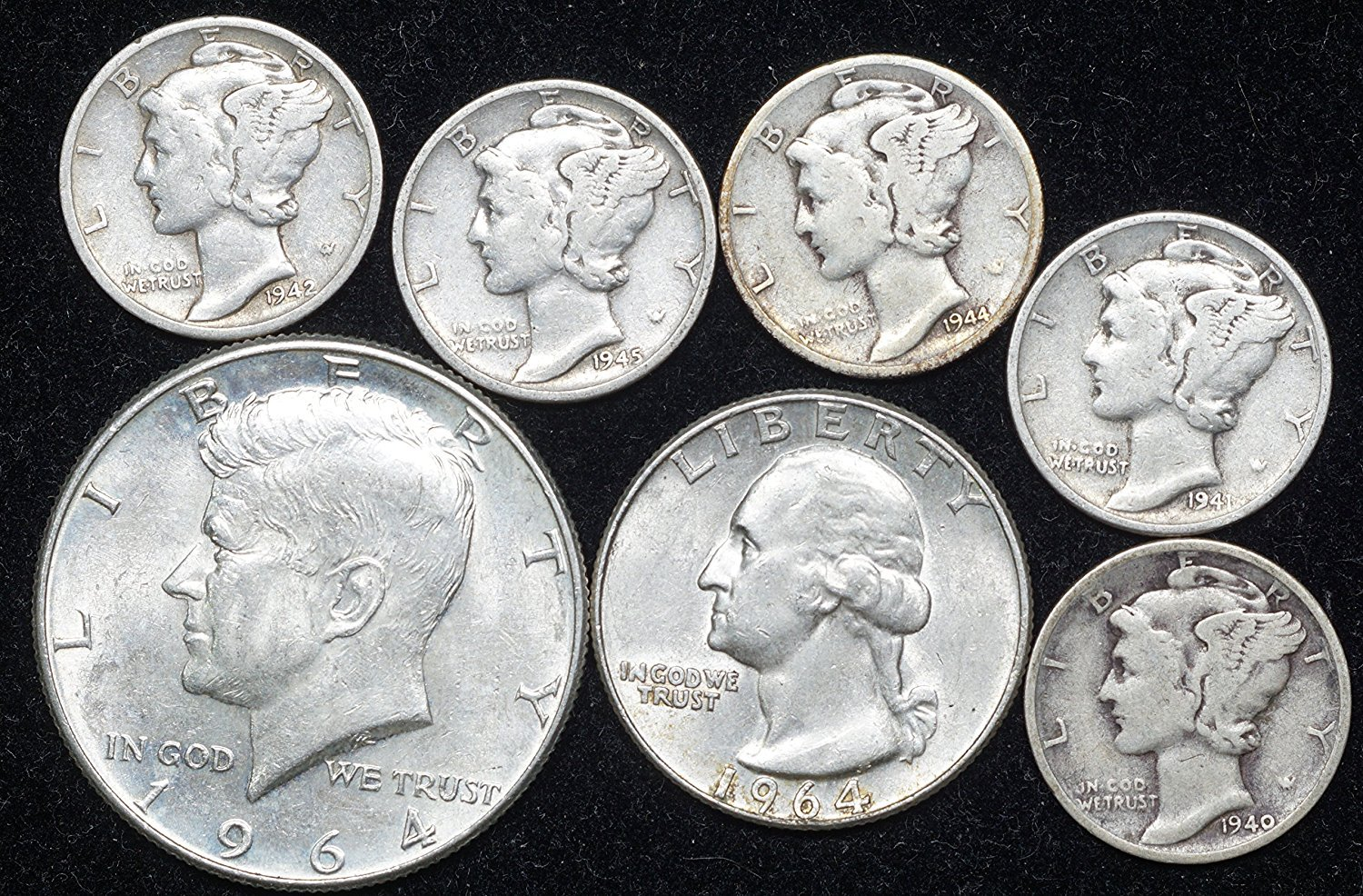 Lot of 10 Washington Silver Quarters From 1940s-1964 90/% Silver Coins
