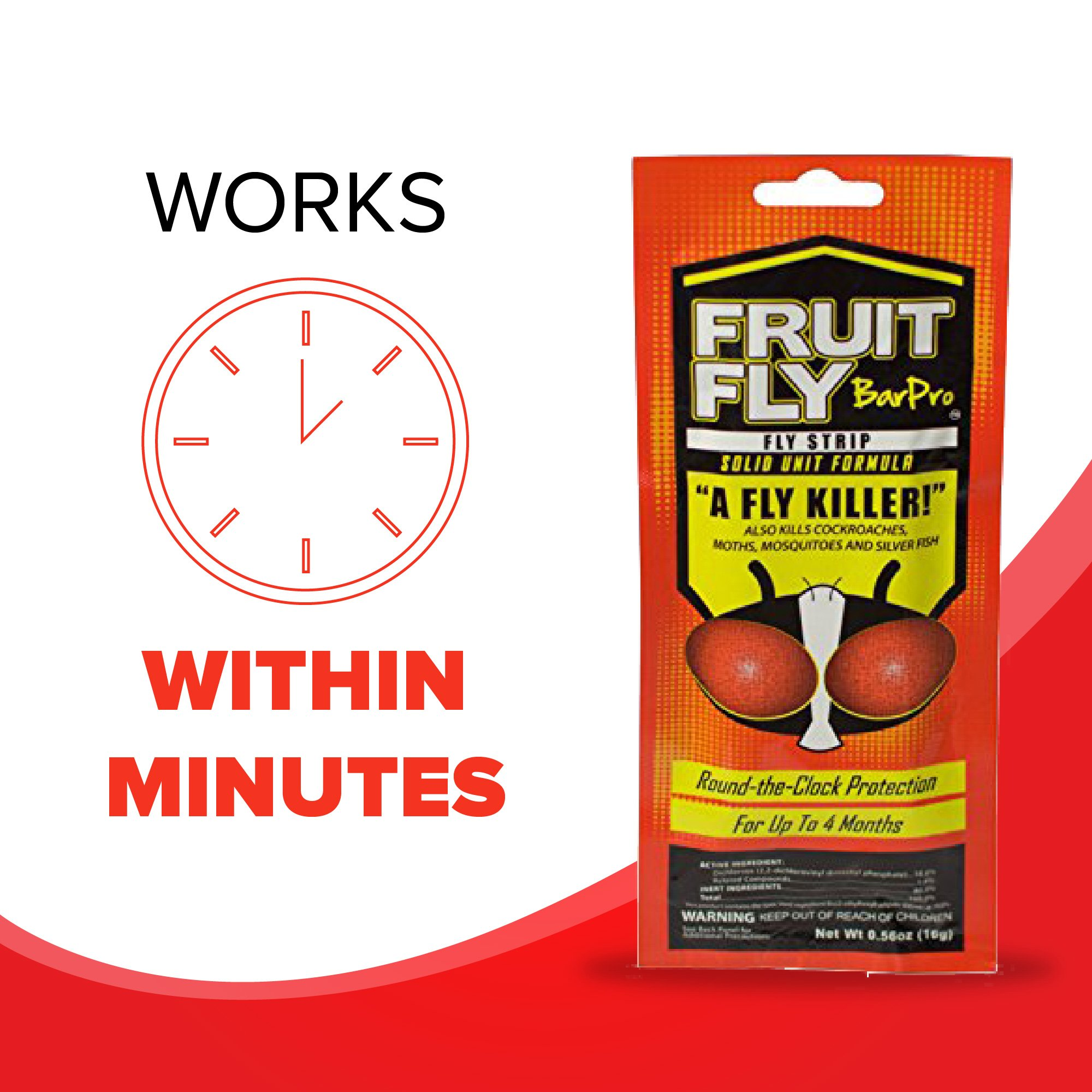 Fruit Fly BarPro Fly Strip – 4 Month Protection Against Flies, Cockroaches, Mosquitos & Other Pests – Portable for Indoor & Outdoor Use (5 Strips, Food Service Pack) by Fruit Fly BarPro (Image #7)